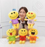 best friend games - Cute Lovely Emoji Smiley dolls best friend Cartoon Cushion Pillows Yellow Round emoji doll Stuffed Plush Toy cm cm cm LJJH1405