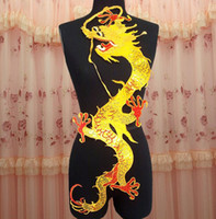 Wholesale 30 cm super large golden sequined paillette dragon embroidery patch with hot melt adhesive on imitated silk for clothes DIY