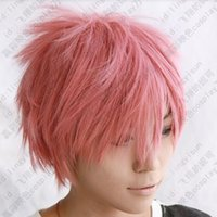 Cheap FREE SHIPPING Hot heat resistant Party hair>>>> fairy tail Natsu Dragneel short pink cosplay party wig