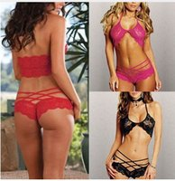 Wholesale Attract Women Sexy Lingerie Sleepwear G string Lace Underwear Colors New set
