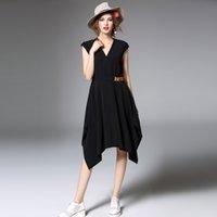 Wholesale Slim Rhinestone Belt - C8961 2016 new spring and summer luxury skirt solid color belt Slim V-neck short-sleeved Medium and long skirt women dress