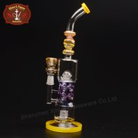 Wholesale USA Color Glass Bong Inch Height Bent Type Glass Bongs Water Pipes with Percolator for Adult XD