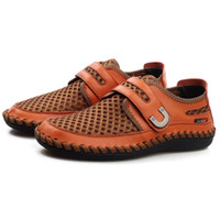 velcro - 2016 Urban Stylish Hand Made Genuine Leather Mesh Breathable Casual Shoes Sneakers Mens Flats Comfortable Hook Loop Strap Spring Summer