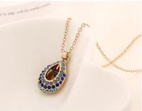 achat en gros de collier en or shiping libre-Fashion Placage or cristal autrichien Collier Simulé AAA + diamant Jewellry Coeur collier pendentif amour chaîne 9 couleurs Shiping gratuit