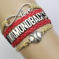 baseball diamond numbers - Custom Infinity Love Arizona Diamond Backs baseball Sport MLB Bracelet Wax Cords Leather Wrapped Adjustable Bracelet Bangle Drop Shipping