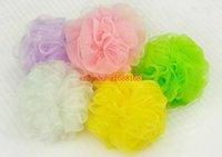 bath mesh scrubber - Mesh Pouf Sponge Bathing Spa Shower Scrubber Ball Colorful Bath Brushes Sponges