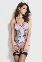 adult pair costumes - New Sexy lace patchwork Bustier with Garters amp a pair of ears adult lingerie underwear night wear LC8775