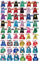 Wholesale 54 Style Double Side Kids Superhero Capes And Masks Cosplay Costumes Batman Spiderman Ninja Turtles Batgirl for kids capes with mask DHL