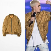 animal flights - 2016 mens jackets kanye west pilot flight satin ma1 bomber jacket NEW FEAR OF GOD FOG JUSTIN BIEBER high street men clothes clothing