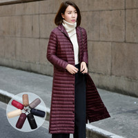Wholesale 2016 autumn and winter stand collar thin over the knee design long down coat outerwear female light thin