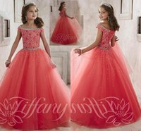 Wholesale Little Girls Pageant Dresses wear New Off Shoulder Crystal Beads Coral Tulle Formal Party Dress for teen Kids Flowers Girls Gowns H1189