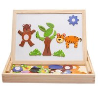 Wholesale 2016 toddler kids fancy toys wooden magnetic multifunctional learning toys baby building blocks sketch pad double size