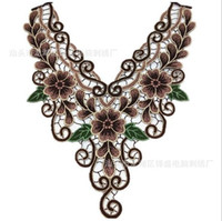 Wholesale Brown Flowers Pathes Lace Embroidered Motif Patches Cord Venice Sticker Sew On Applique Trimming Scrapbooking for Diy