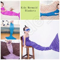 wool blankets - Kids Mermaid Tail Blankets Handmade Blankets Sleeping Bags Knit Crochet Blankets Air Condition Sofa Warm Soft Air Condition Blankets OOA769