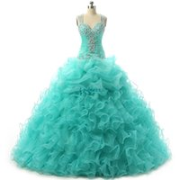 Wholesale Stunning Ball Gown Quinceanera Dresses Ball Gown Sparking Crystal Beads Sequins Pleats Organza Ball Gown Dresses