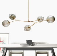 Wholesale Lindsey Adelman Chandeliers Lighting Modern Globe Glass Bubble Pendant Lamp Natural Tree Branch Suspension Light Hotel Dinning Room Light