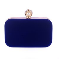 Wholesale New Velvet Clutch Pearl Crystal Velour Evening Bags Women Party Wedding Hard Case Mini Purse Blue Red Purple bolsos XA836H