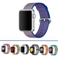 al por mayor banda tejida-¡Precio de fábrica! Para la correa de reloj de Apple 38m m 42m m Correa de nylon tejida para la correa de iwatch La pulsera suave del lazo de la tela incorporó el adaptador