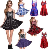 Wholesale NEW Style Sexy Girl Women Summer Superhero ultimate spider man D Prints Reversible Sleeveless Skater Pleated Dress Plus size