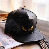 baseball eye protection - 2016 New Fashion Classic Design PU Leather Characte Yellow Eyes Baseball Cap Sport Hats Black Snapback Wide Brim Hip Hop Caps For Women Men