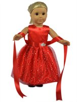 Wholesale 18 inch Fashion Blue Shining Belt Girl Doll Clothes Doll Dress for American Girl Dolls Alike