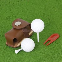 Wholesale Mini Portable Leather Clip On Golf Ball Holder Pouch Bag Hold Balls Golfer Aid Tool Gift Dark Khaki