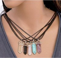 Wholesale Natural Stone Bullet Shape Pendant Necklaces Stainless Steel Leather Hexagonal Prism Crystal Jewelry for women men