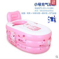 Wholesale Size cm With Electric Pump Inflatable Bathtub Thickening Tub Folding Bath Basin Plastic Bath Bucket