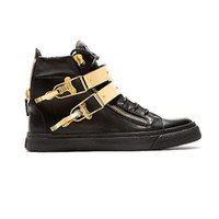 Cheap plus size 35-47 italian luxury brand high top men casual shoes women black white red designer Fashion sneakers Genuine Leather Metal buckle