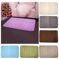 Wholesale 2016 New Memory Foam Bath Mat Bathroom Horizontal Stripes Rug Non slip Bath Mats Solid Colors Available cm