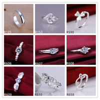 Wholesale Brand new high grade women s gemstone sterling silver ring pieces mixed style wedding fashion silver ring GTR9 factory direct sale