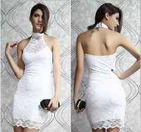 Wholesale Seven Color Lace Dress Club Wear Party Dress Sleeveless OL Full Lace Halter Dress Sexy Nightclub Free Ship