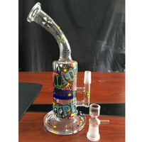 beautiful glass paintings - Bent Type PAinting Glass Water Bongs With Beautiful Stickers Recycler Oil Rigs Glass Water Pipes Inline Honeycomb Filter