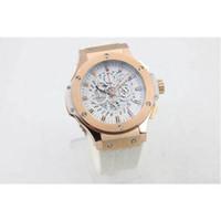 aero white - Famous brand watches men quartz chronograph gold case white leather belt watch big bang aero bang watches men dress wristwatches