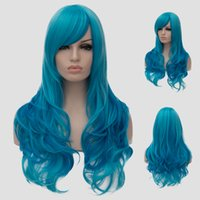 Cheap Wholesale Synthetic Hair Wigs New Available Beautiful Heat Resistant Synthetic Wig Wavy Turquoise Blue Long Cosplay Wigs Curly Party Wigs