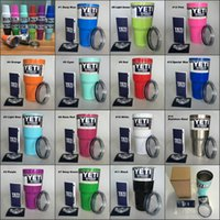 Wholesale Colored Yeti Cups oz with Lid Stainless Steel Double Wall Vacuum Insulated yeti Tumbler Rambler colors Travel Mug Fast ship