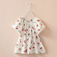 Wholesale Baby girls T shirt summer new children cherry printed tops kids cotton tassel short sleeve dress shirt baby girls clothes