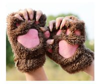 Wholesale Fluffy Bear Cat Plush Paw Claw Glove Novelty Halloween soft toweling lady s half covered gloves mittens pairs by DHL