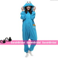 Wholesale Blue Sesame Street Mascot Cosplay Party Costumes Leisure Household Animal Outfit Pajamas Jumpsuit for Sale Cheap Comfy Sleepwear Homewear