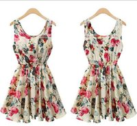 Wholesale Lady Beach Chiffon Dress Pleated Mini Dress A line Evening Cocktail Dress Casual Summer Dress Fashion Slim Dress Party Floral Dress A503