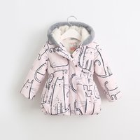 animal hood pattern - Baby girl lovely cat printed padded jackets winter new kid clothes animal pattern children Long sleeve hooded Outwear coat for T