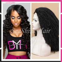 Wholesale DHL quot high quality deep wave full lace wig virgin brazilian human hair b natural black