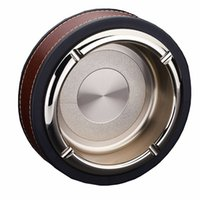 Wholesale Round Stainless Steel Portable Ashtray Metal Tabletop Decoration Ashtray for Indoor Use Home Decoration Gold Silver Matte Gold