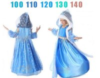 Cheap Free shipping- Frozen Snow Queen Elsa Costume Anime Cosplay Dress Frozen Princess Elsa Dresses With Hooded Cape Blue Fur Cape Dress