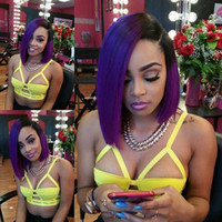 Cheap Side Part Two Tone Color 1B Purple Dark Root Ombre Silk Straight Brazilian Short Bob Human Hair Full Lace Wig & Lace Front Wigs