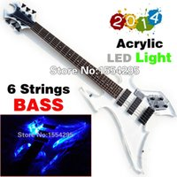 Wholesale Top Factory Custom Acrylic Strings Electric Bass Guitar Acrylic Body with LED light Real photo Showing Retail