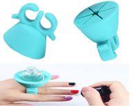 Wholesale nail polish ho fashion Soft Silicone Finger Creative Wearable silicon nail polish holder with ring