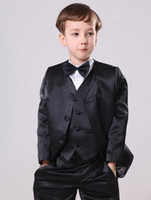 Wholesale Custom Made Boy s Formal Wear Suits Notch Lapel Baby Kids Formal Occasion Wedding Party Children Tuxedos Jacket Pants Tie Vest
