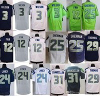 Wholesale 2016 Seattle Elite Mens Seahawks jerseys rugby football jerseys LYNCH FAN SHERMAN WILSON THOMAS Fan white grey green navy