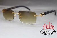 acrylic fashion sunglasses - New Rimless Black Buffalo Genuine horn Sunglasses Colors Gold or Silver Glasses Size with original case